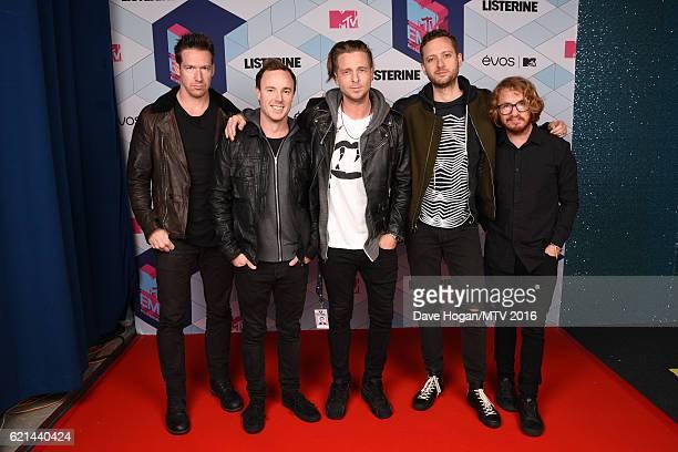 Zach Filkins Ryan Tedder Eddie Fisher Brent Kutzle and Drew Brown of One Republic attend the MTV Europe Music Awards 2016 on November 6 2016 in...