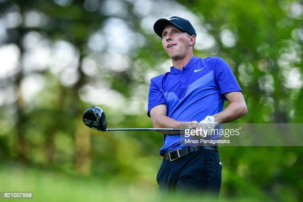 Zach Foushee hits his tee on the first hole during round three of the Mackenzie Investments Open at Club de Golf Les Quatre Domaines on July 22 2017...