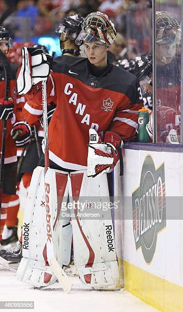 Zach Fucale of Team Canada takes a breather against Team Denmark during a quarterfinal game in the 2015 IIHF World Junior Hockey Championships at the...