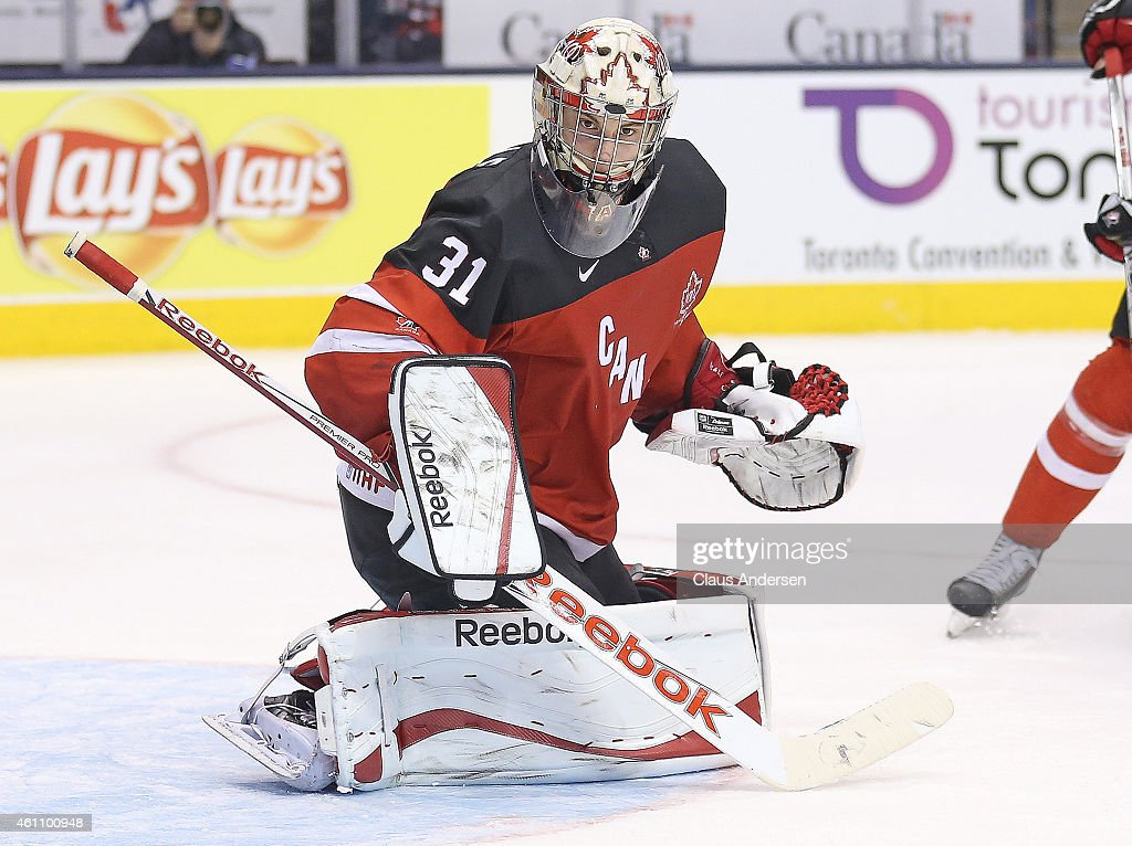 Zach Fucale #31 of Team Canada watches for a rebound against Team Russia during the gold medal game in the 2015 IIHF World Junior Hockey Championship at the Air Canada Centre on January 5, 2015 in Toronto, Ontario, Canada. Team Canada defeated Team Russia 5-4 to win the gold medal.