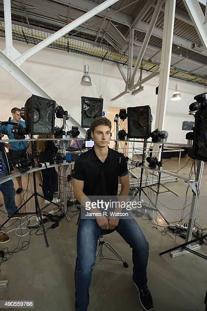 Zach Fucale of the Montreal Canadiens awaits his 360degree headscan by EA Sports at the 2015 NHLPA Rookie Showcase at Mattamy Athletic Centre on...