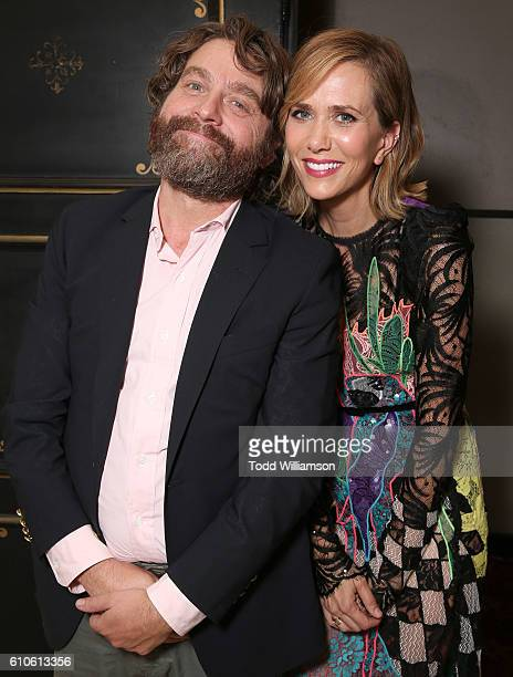 Zach Galifianakis and Kristen Wiig attend the after party for the Premiere Of Relativity Media's 'Masterminds' on September 26 2016 in Hollywood...