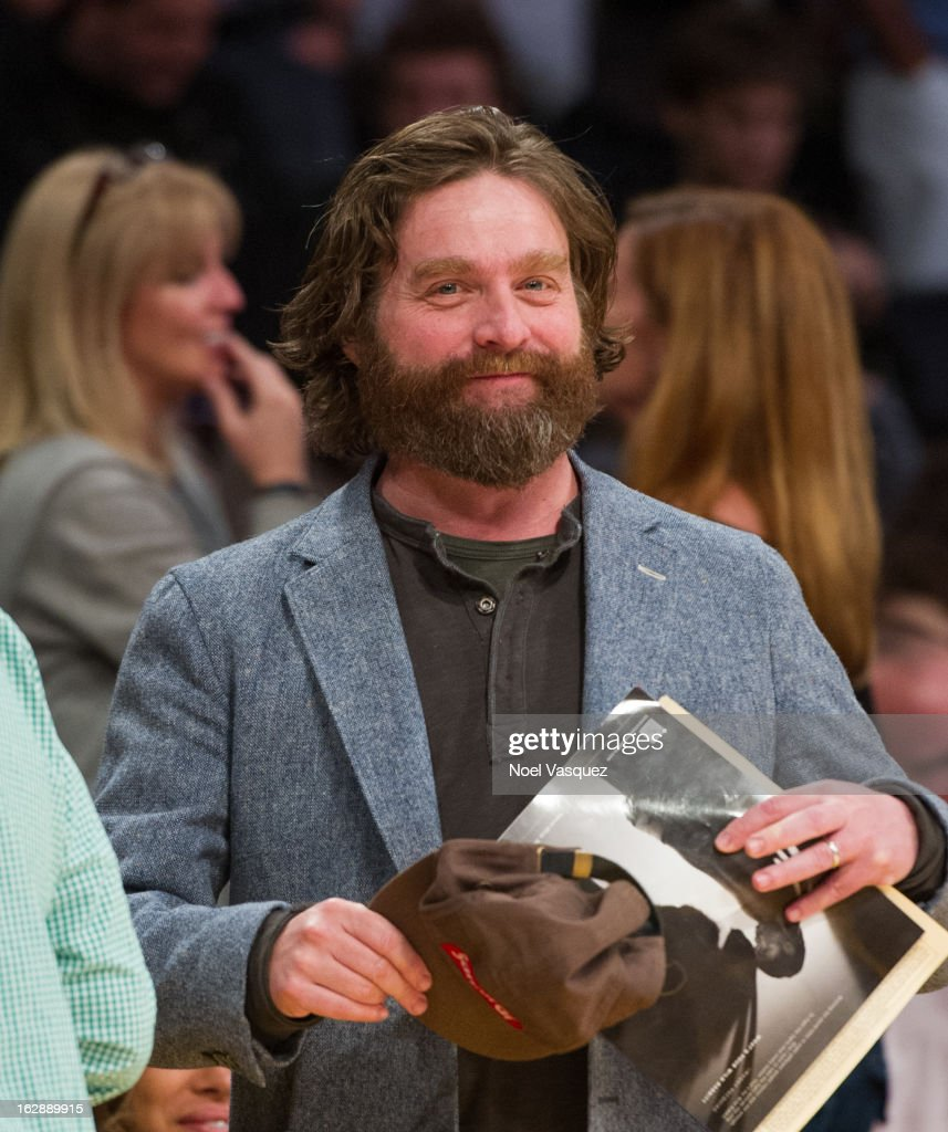 <a gi-track='captionPersonalityLinkClicked' href=/galleries/search?phrase=Zach+Galifianakis&family=editorial&specificpeople=2154769 ng-click='$event.stopPropagation()'>Zach Galifianakis</a> attends a basketball game between the Minnesota Timberwolves and Los Angeles Lakers at Staples Center on February 28, 2013 in Los Angeles, California.