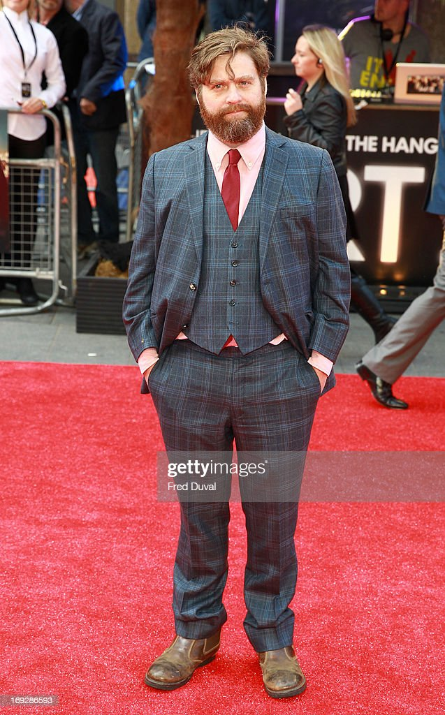 Zach Galifianakis attends 'The Hangover III' - UK film premiere at The Empire Cinema on May 22, 2013 in London, England.