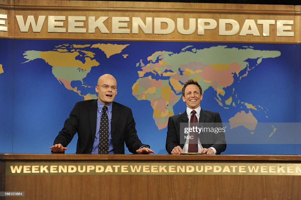 LIVE -- 'Zach Galifianakis' Episode 1639 -- Pictured: (l-r) Bill Hader with Seth Meyers during a skit on May 4, 2013 --