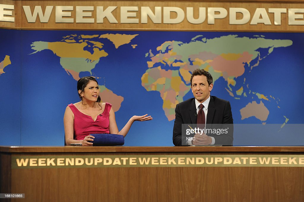 LIVE -- 'Zach Galifianakis' Episode 1639 -- Pictured: (l-r) Cecily Strong with Seth Meyers during a skit on May 4, 2013 --