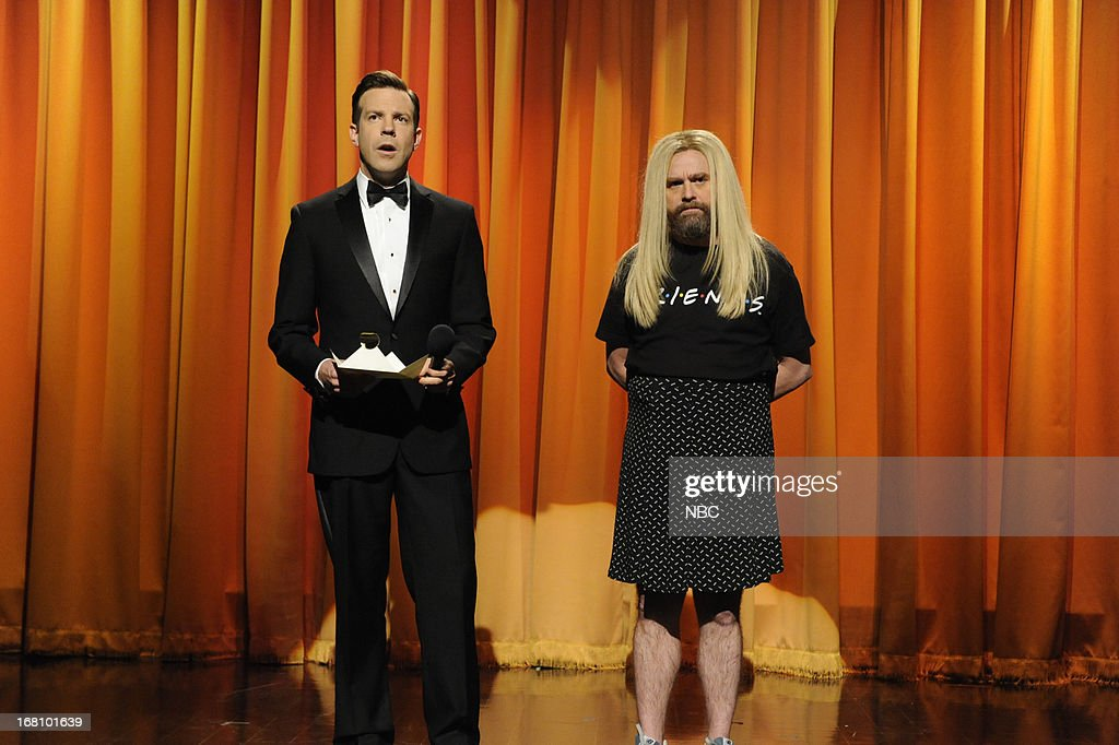 LIVE -- 'Zach Galifianakis' Episode 1639 -- Pictured: (l-r) Jason Sudeikis and Zach Galifianakis during a skit on May 4, 2013 --