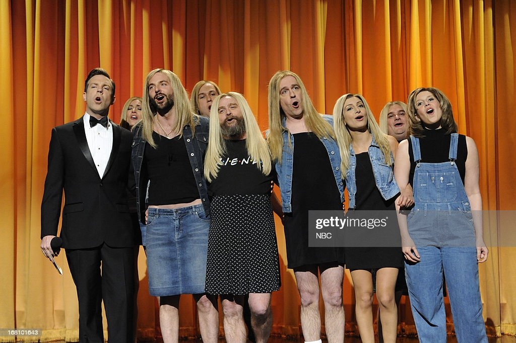 LIVE -- 'Zach Galifianakis' Episode 1639 -- Pictured: (l-r) Jason Sudeikis, Cecily Strong, Taran Killam, Bradley Cooper, Zach Galifianakis, Ed Helms, Nasim Pedrad, Bobby Moynihan and Vanessa Bayer during a skit on May 4, 2013 --