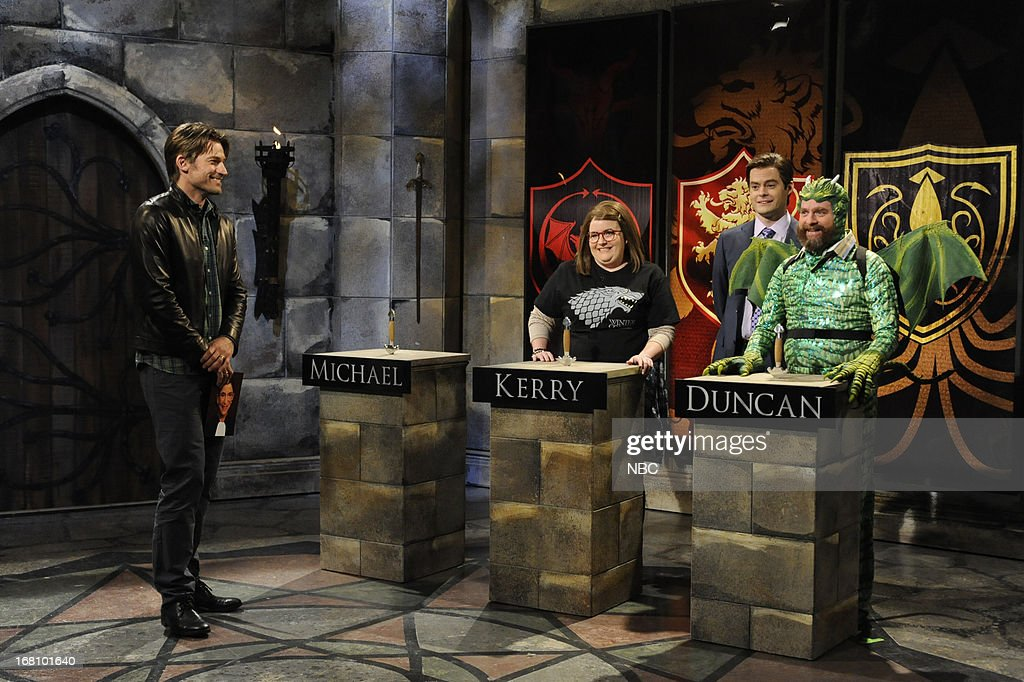 LIVE -- 'Zach Galifianakis' Episode 1639 -- Pictured: (l-r) Nikolaj Coster-Waldau, Aidy Bryant, Bill Hader and Zach Galifianakis during a skit on May 4, 2013 --