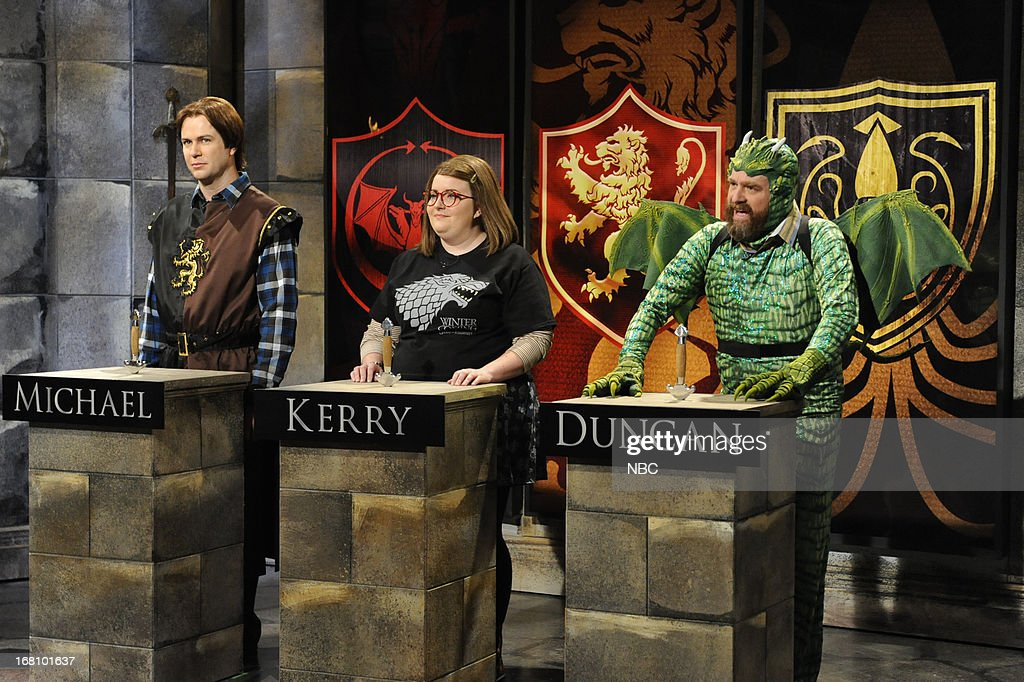 LIVE -- 'Zach Galifianakis' Episode 1639 -- Pictured: (l-r) Taran Killam, Aidy Bryant and Zach Galifianakis during a skit on May 4, 2013 --