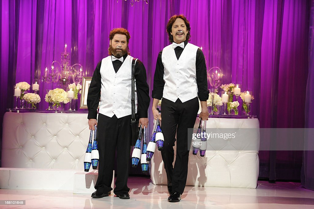 LIVE -- 'Zach Galifianakis' Episode 1639 -- Pictured: (l-r) Zach Galifianakis and Jason Sudeikis during a skit on May 4, 2013 --