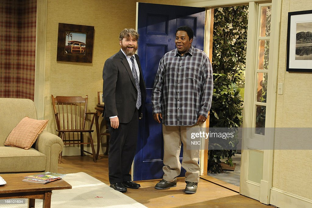 LIVE -- 'Zach Galifianakis' Episode 1639 -- Pictured: (l-r) Zach Galifianakis and Kenan Thompson during a skit on May 4, 2013 --