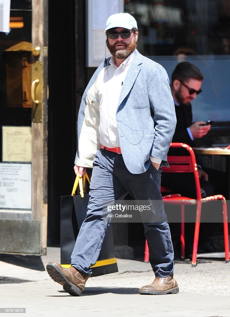 <a gi-track='captionPersonalityLinkClicked' href=/galleries/search?phrase=Zach+Galifianakis&family=editorial&specificpeople=2154769 ng-click='$event.stopPropagation()'>Zach Galifianakis</a> is seen in Soho on April 30, 2013 in New York City.