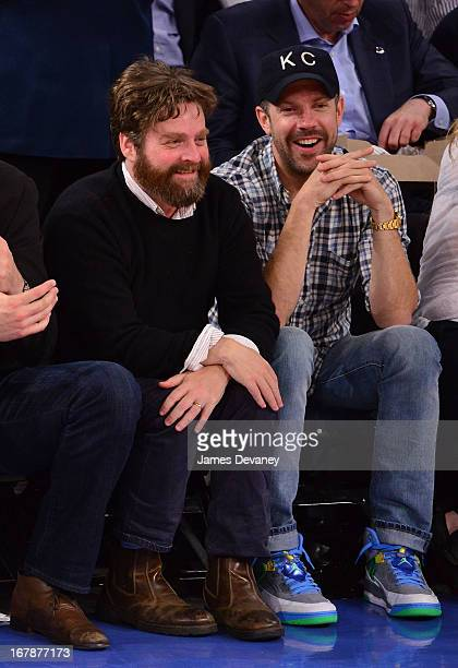 Zach Galifinakis and Jason Sudekis attend the Boston Celtics vs New York Knicks Playoff Game at Madison Square Garden on May 1 2013 in New York City