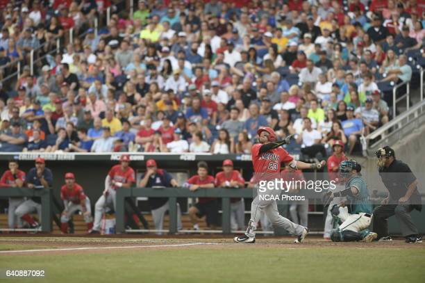 Zach Gibbons of University of Arizona pops up into left field against Coastal Carolina University during the Division I Men's Baseball Championship...