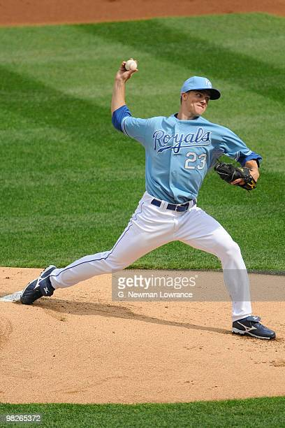 Zach Greinke of the Kansas City Royals throws a pitch against the Detroit Tigers during the season opener on April 5 2010 at Kauffman Stadium in...
