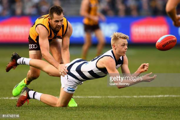 Zach Guthrie of the Cats handballs whilst being tackled by Luke Hodge of the Hawks during the round 17 AFL match between the Geelong Cats and the...