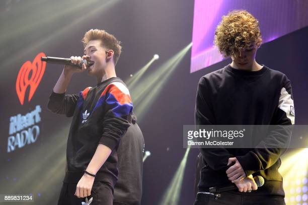 Zach Herron and Jack Avery of Why Don't We perform onstage during KISS 108's Jingle Ball 2017 presented by Capital One at TD Garden on December 10...