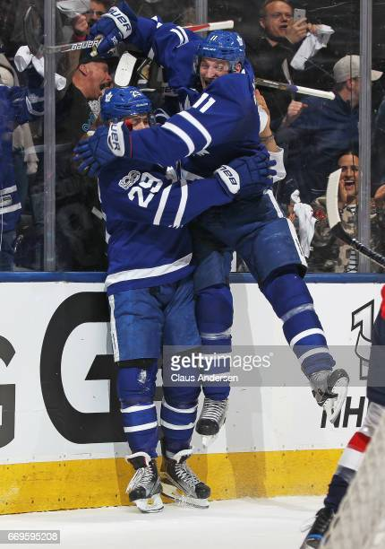 Zach Hyman and William Nylander of the Toronto Maple Leafs celebrate Nylander's goal against the Washington Capitals in Game Three of the Eastern...