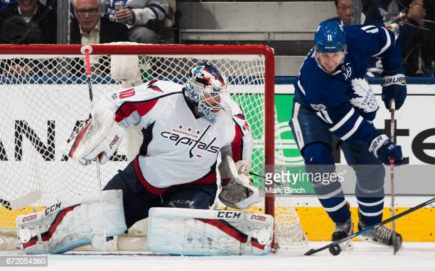 Zach Hyman of the Toronto Maple Leafs attempts a wraparound on Braden Holtby of the Washington Capitals during the second period in Game Six of the...