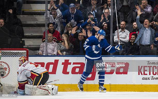 Zach Hyman of the Toronto Maple Leafs celebrate this short handed goal against Brian Elliott of the Calgary Flamesduring the second period at the Air...