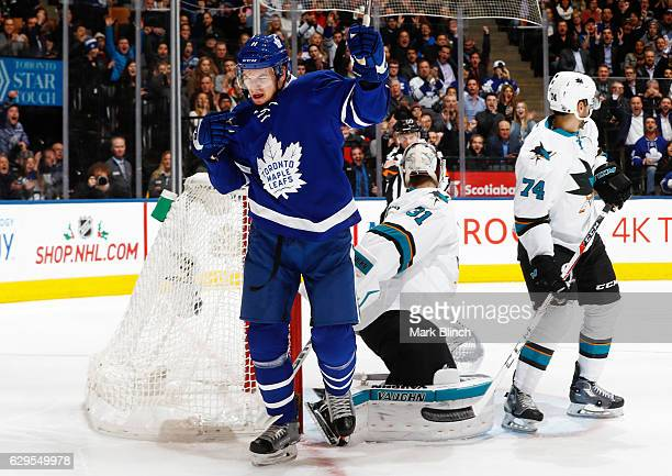 Zach Hyman of the Toronto Maple Leafs celebrates after scoring on Martin Jones of the San Jose Sharks during the first period at the Air Canada...