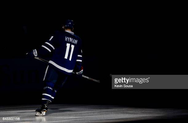 Zach Hyman of the Toronto Maple Leafs during pregame ceremonies before an NHL game against the New York Rangers at the Air Canada Centre on February...