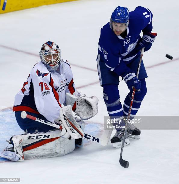 Zach Hyman of the Toronto Maple Leafs screens Braden Holtby of the Washington Capitals on a shot during the first period in Game Six of the Eastern...
