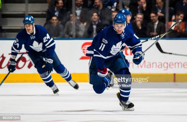 Zach Hyman of the Toronto Maple Leafs skates agains the Philadelphia Flyers during the first period at the Air Canada Centre on March 9 2017 in...