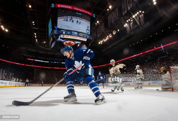 Zach Hyman of the Toronto Maple Leafs skates against the Boston Bruins during the first period at the Air Canada Centre on March 20 2017 in Toronto...
