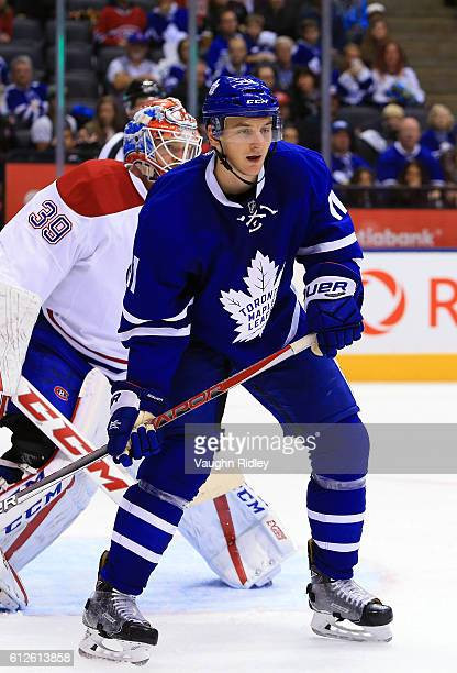 Zach Hyman of the Toronto Maple Leafs skates during an NHL preseason game against the Montreal Canadiens at Air Canada Centre on October 2 2016 in...