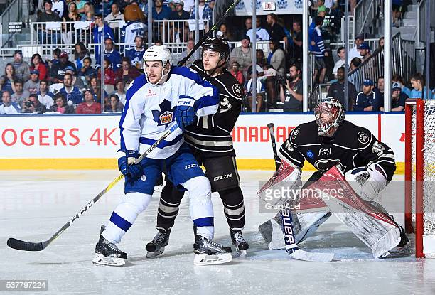 Zach Hyman of the Toronto Marlies battles for space with Aaron Ness and Justin Peters of the Hershey Bears during AHL Eastern Conference Final...