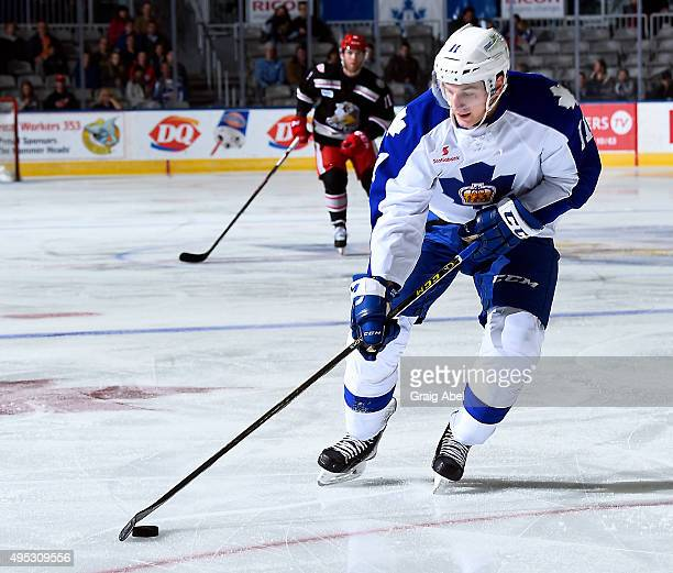 Zach Hyman of the Toronto Marlies controls the puck against the Grand Rapids Griffins during AHL game action on October 30 2015 at Ricoh Coliseum in...