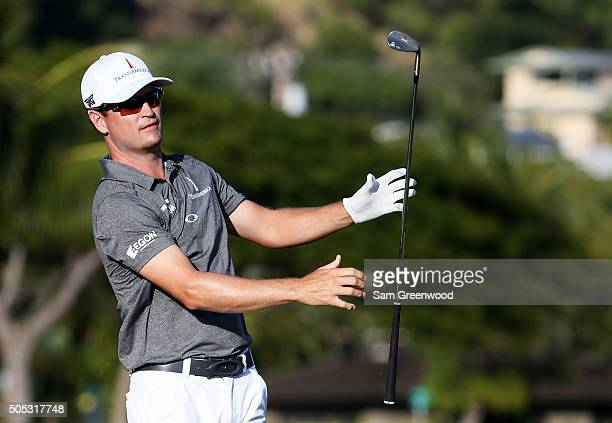 Zach Johnson drops his club on the 17th hole during the third round of the Sony Open In Hawaii at Waialae Country Club on January 16 2016 in Honolulu...