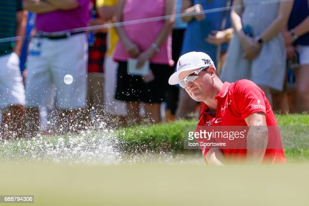 Zach Johnson hits from the bunker on during the second round of the Dean Deluca Invitational on May 26 2017 at Colonial Country Club in Fort Worth TX