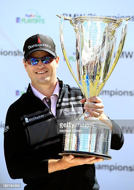 Zach Johnson holds the JK Wadley Trophy after winning the BMW Championship at Conway Farms Golf Club on September 16 2013 in Lake Forest Illinois...