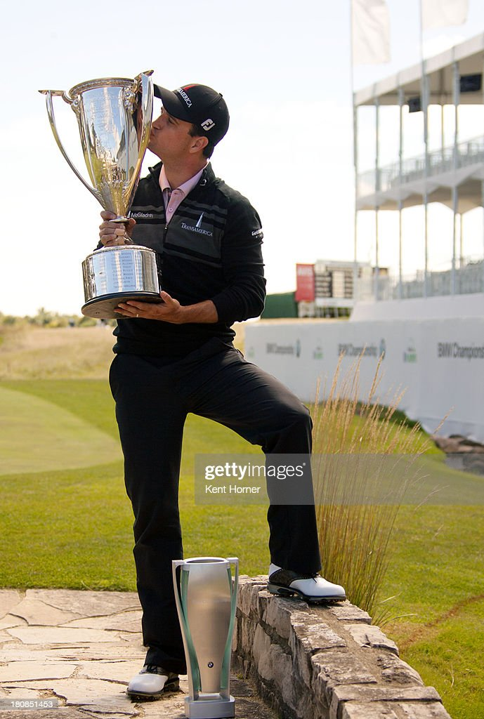 <a gi-track='captionPersonalityLinkClicked' href=/galleries/search?phrase=Zach+Johnson+-+Golfer&family=editorial&specificpeople=217976 ng-click='$event.stopPropagation()'>Zach Johnson</a> kisses the J.K. Wadley Trophy after his win of the 2013 BMW Championship at Conway Farms Golf Club on September 16, 2013 in Lake Forest, Illinois.