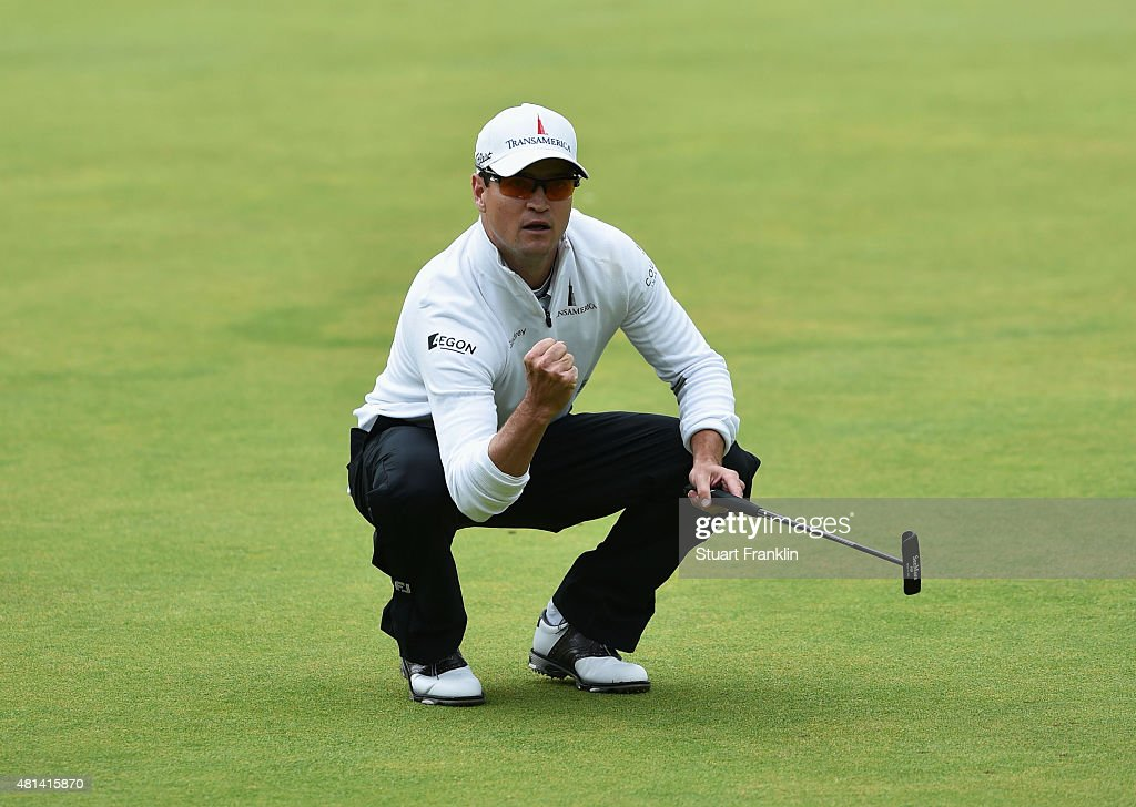 Zach Johnson of the United States celebrates a birdie putt on the 18th green during the final round of the 144th Open Championship at The Old Course...