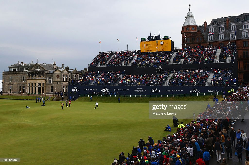 Zach Johnson of the United States celebrates a birdie putt on the 18th green during the final round of the 144th Open Championship at The Old Course on July 20, 2015 in St Andrews, Scotland.