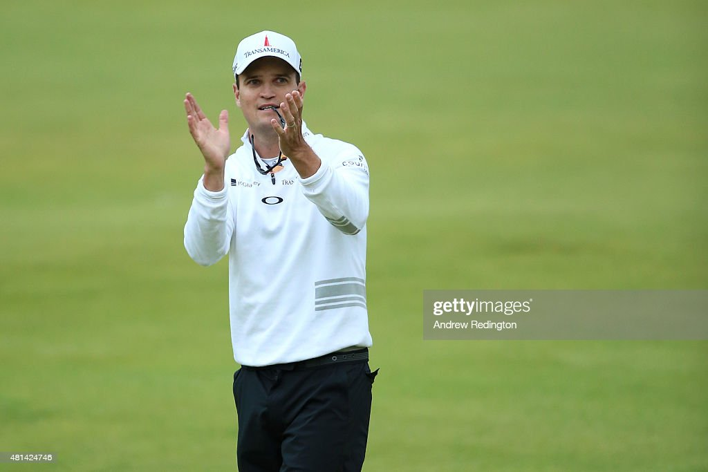 Zach Johnson of the United States celebrates after winning the 144th Open Championship at The Old Course during a 4hole playoff on July 20 2015 in St...