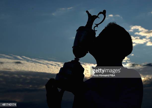 Zach Johnson of the United States celebrates with the Claret Jug after winning during the play off of the 144th Open Championship at The Old Course...