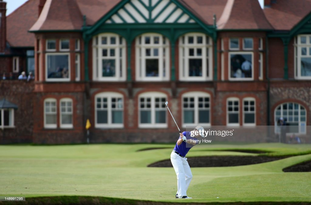 <a gi-track='captionPersonalityLinkClicked' href=/galleries/search?phrase=Zach+Johnson+-+Golfer&family=editorial&specificpeople=217976 ng-click='$event.stopPropagation()'>Zach Johnson</a> of the United States hits a shot to the 18th green during the third round of the 141st Open Championship at Royal Lytham & St. Annes Golf Club on July 21, 2012 in Lytham St Annes, England.