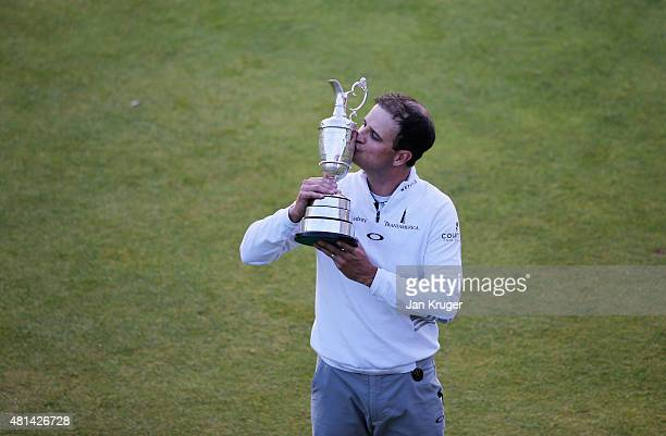 Zach Johnson of the United States kisses the Claret Jug after winning the 144th Open Championship at The Old Course during a 4hole playoff on July 20...