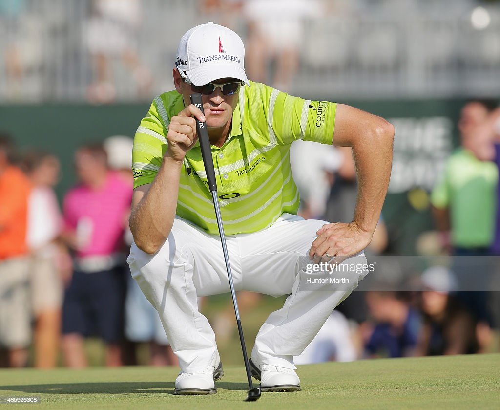Zach Johnson of the United States lines up a putt during the third round of The Barclays at Plainfield Country Club on August 29 2015 in Edison New...