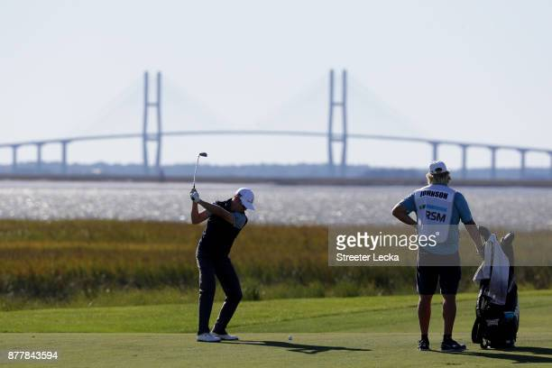 Zach Johnson of the United States plays a shot on the 13th hole during the final round of The RSM Classic at Sea Island Golf Club Seaside Course on...
