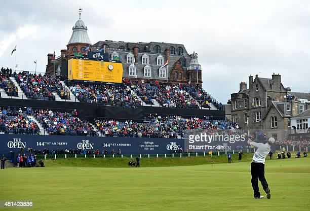 Zach Johnson of the United States plays his approach shot to the 18th green in the playoff during the final round of the 144th Open Championship at...