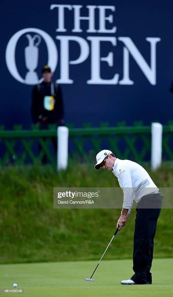 Zach Johnson of the United States putts on the 18th hole during the play off of the 144th Open Championship at The Old Course on July 20 2015 in St...
