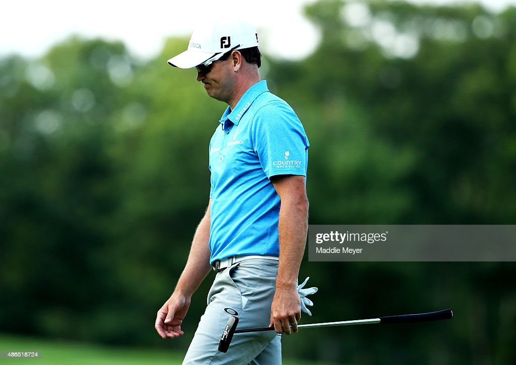 Zach Johnson of the United States reacts after missing a putt on the fourteenth green during round one of the Deutsche Bank Championship at TPC Boston on September 4, 2015 in Norton, Massachusetts.
