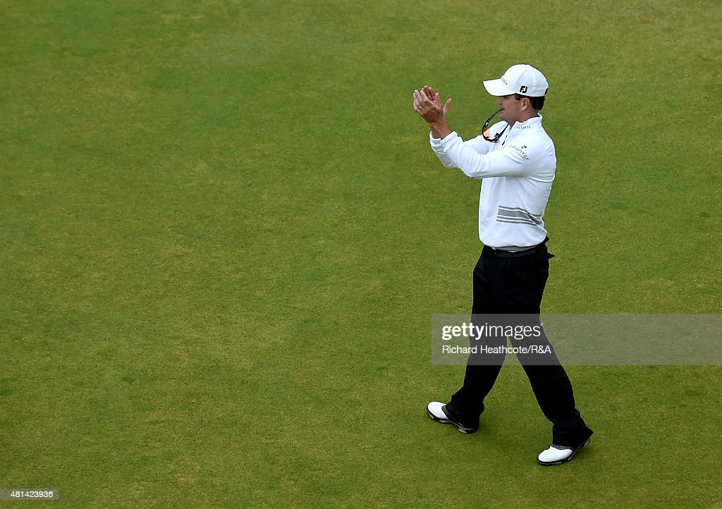 Zach Johnson of the United States reacts after winning during the play off of the 144th Open Championship at The Old Course on July 20 2015 in St...