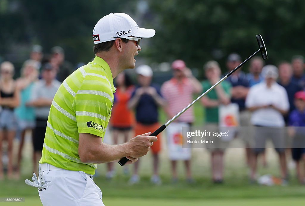 Zach Johnson of the United States reacts to a missed putt during the third round of The Barclays at Plainfield Country Club on August 29, 2015 in Edison, New Jersey.